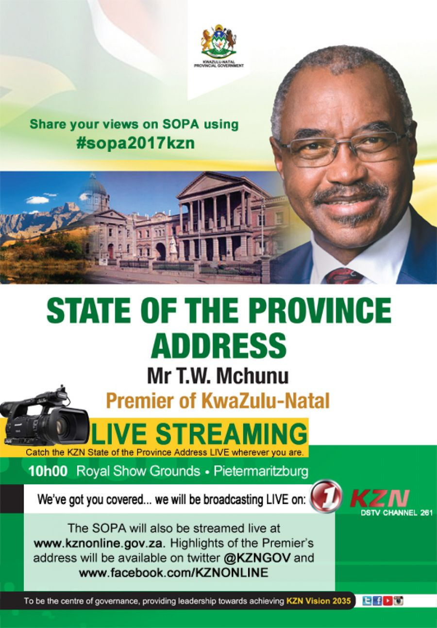 KZN Premier to deliver state of the province address