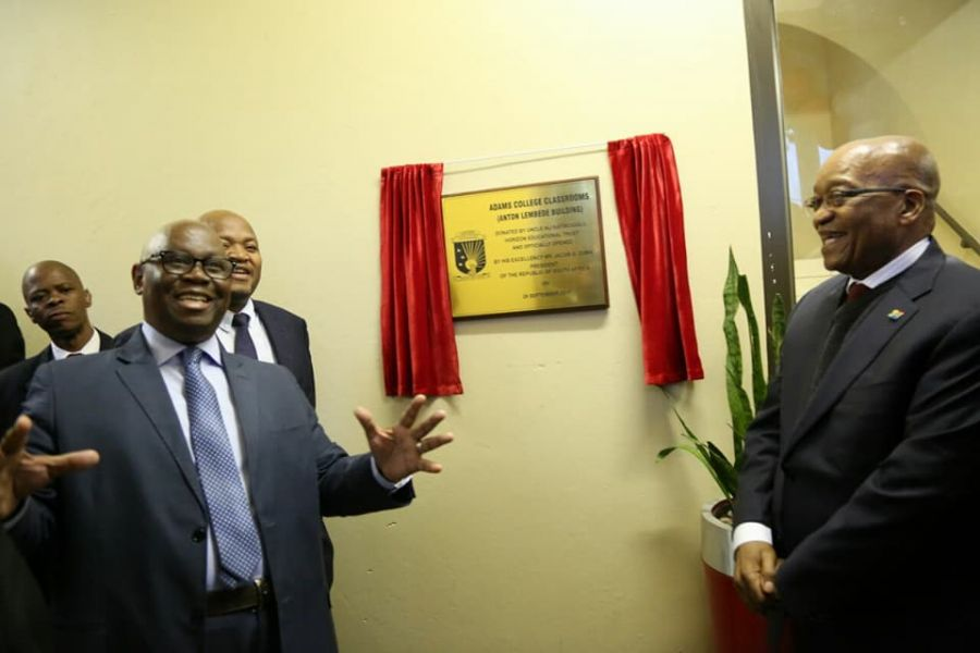 The HOD, Dr Enock Nzams attended the official opening of a library and classrooms at Adams College on behalf of the MEC